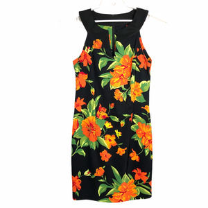 Belk Womens 10 Black Floral Sheath Dress